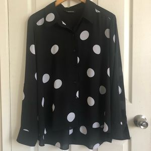 Women's INC Concepts Polka Dot Collar Top Size XL